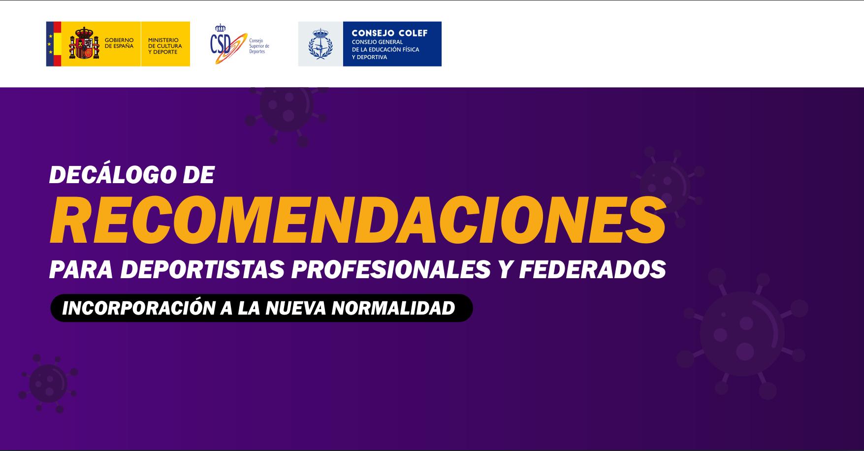 Decálogo recomendaciones CSD para deportistas profesionales y federados